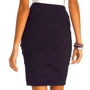 WHBM Instantly Slimming Tiered Black Pencil Skirt